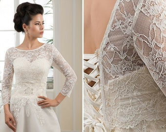 White wedding bolero White lace wedding jacket with long sleeves Ivory bridal bolero White Wedding sweater