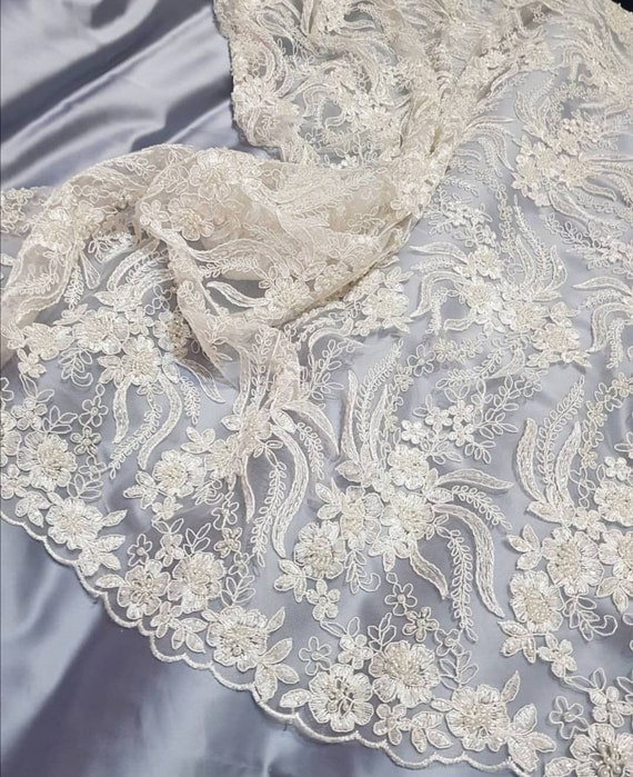 ivory alencon fabric beaded lace spitzen stoff ivory lace Ivory beaded lace fabric pearl beaded sequin lace ivory lace fabric B00373