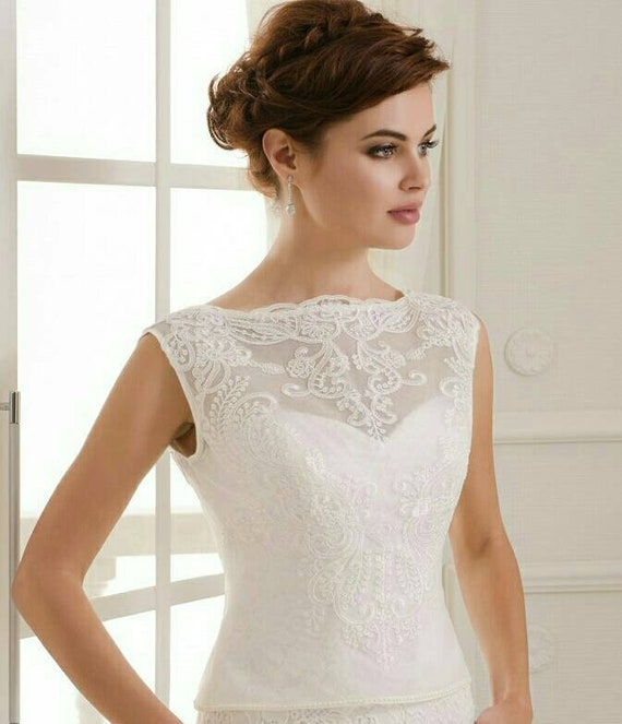 White Wedding Bolero Ivory Lace Bolero Bridal Jacket Etsy