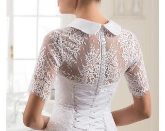 White Wedding Sweater White Bridal Cover up Bridesmaids Sweater Wrap Sweater White bridal shrug Wedding lace  jacket Bridal bolero