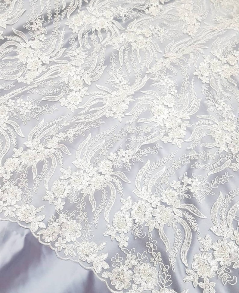 Ivory 3d Wedding lace fabric Ivory bridal lace fabric Embroidery pearls and beads for tailoring wedding Gowns Luxury Floral fabric By 1 yard