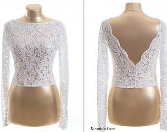Lace bolero jacket/ White  Bridal Bolero/ Ivory  Wedding jacket/ wedding bolero/ Bridal shrug /Bridal jacket / Wedding white bolero/ Bolero