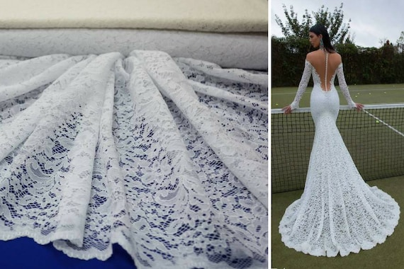 Ivory wedding lace fabric Bridal corded tulle White fashion trend in bridal lace Wedding fabric lace with cord White fabric lace By 1 meters