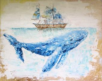 "Original oil Painting Ocean Whale on canvas 20""x16"""