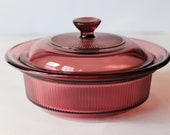 Vintage 80s Purple Cranberry Glass Casserole Baking Dish by Visions by Corning