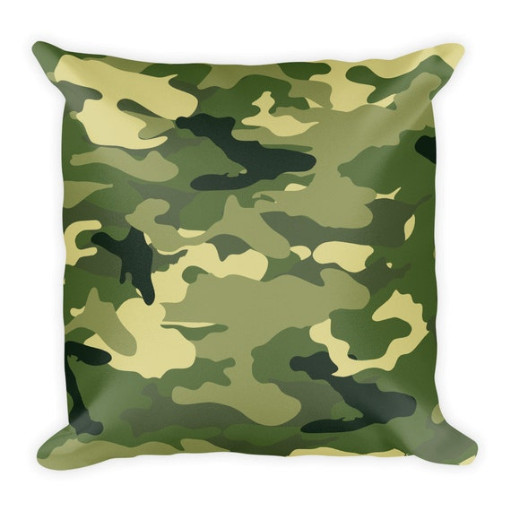 Camo Square Throw Pillow Camouflage Green Etsy