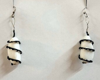 White Quartzite Wire Wrapped Earrings