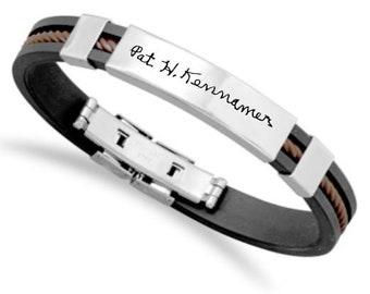 Custom Brown Rubber Handwriting Bracelet--All Profits go to Whereabouts Kids!