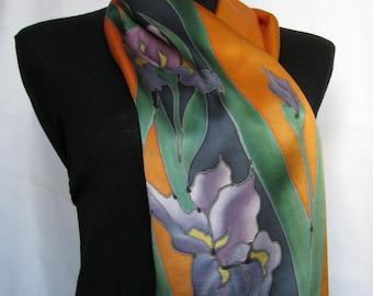 Iris -  silk hand painted scarf