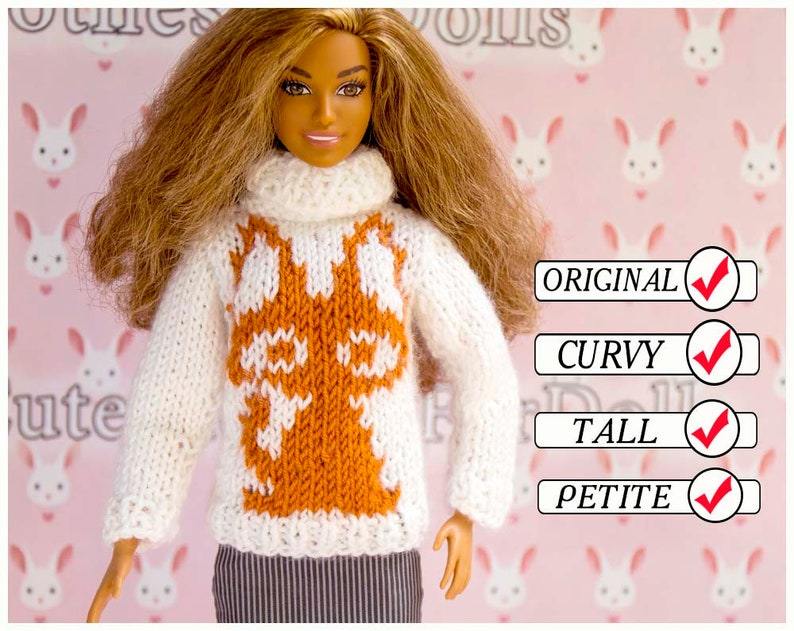 Doll clothes. Barbie sweater. Handmade white brown knitted  e6a3565cf