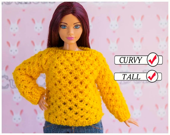 CURVY DOLL YELLOW /& PINK STRIPED DRESS WITH PINK FUR WRAP