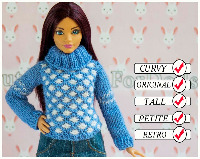 Barbie sweater. Doll clothes handmade. Blue white knitted  d3bd6822c