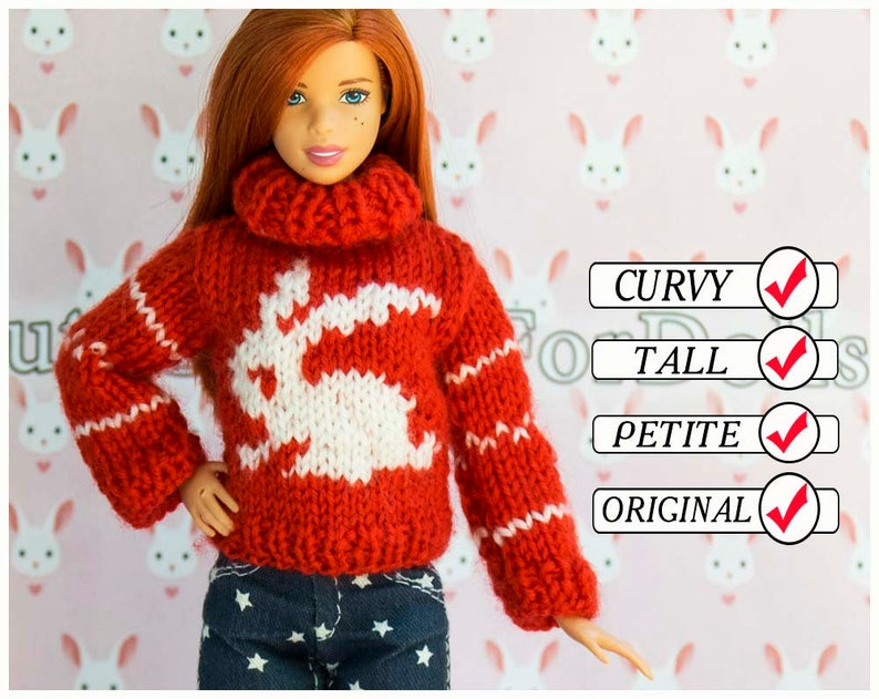 18988963bd8 Barbie doll clothes. Sweater. Handmade red white knitted