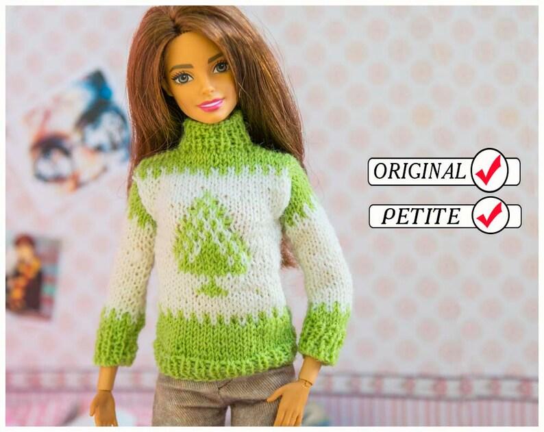 5d7ca4a21b Barbie doll clothes. Sweater. Handmade green white Christmas