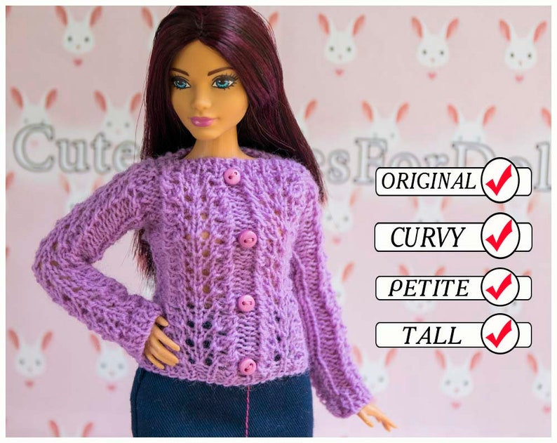 79540c5ceb Barbie sweater. Fashion doll clothes. Handmade knitted purple