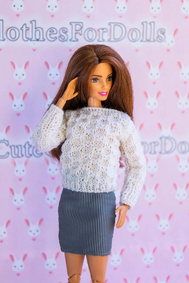 edc5da0a78 Barbie sweater. Handmade doll clothes. Cute white knitted