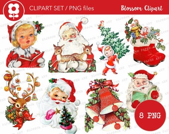 Christmas Clip Art, Vintage Christmas PNG Santa Vintage Graphic Christmas Clip Art for Cards, Crafts, scrapbook, collage, prints - 2814