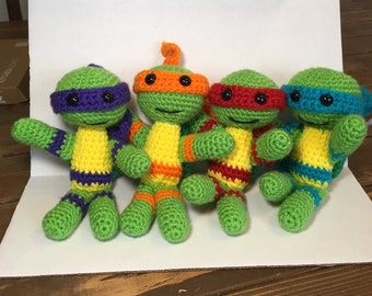 Set of 4 - Crochet Teenage Mutant Ninja Turtles