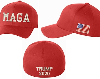 Make America Great Again Hat - MAGA Flex Fit hat w  USA FLaG And TRUMP 2020 fefdcf03c2e4