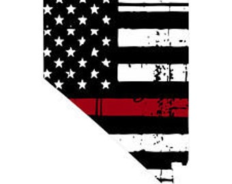 Various Sizes Thin Red Line decal State of New Jersey Tattered Flag