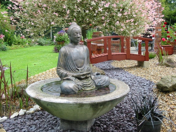 Stone Buddha Water Feature Fountain Garden Ornament Etsy