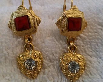 Pierced Earrings Gold Tone with Rhinestone Accents