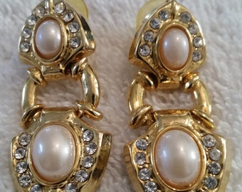 Vintage Gold Tone Pierced Earrings with White Faux Pearls Surrounded by Clear Rhinestones