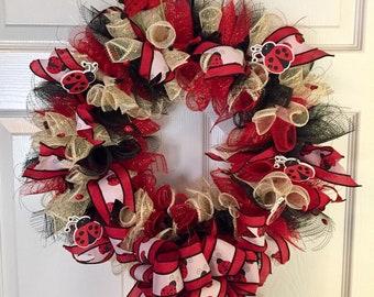 deco mesh wreath lady bugs