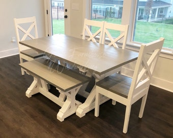 Dining Table And Chairs Etsy - 6ft dining table and chairs
