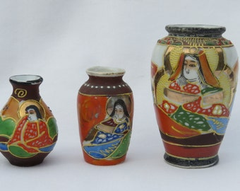 """3 Vintage """"Made in Japan"""" Porcelain Miniature Vases"""