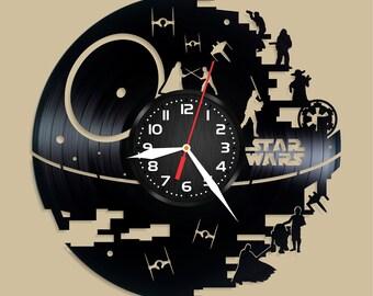 Star Wars Vinyl Wall Clock Wall Clock Vintage Han Solo Gift For Boy Birthday Gift Darth Vader Luke Skywalker Vinyl Record Wall Clock Wall