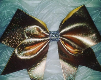 Beautiful Gold Cheer Bow With Silver Rhinestones