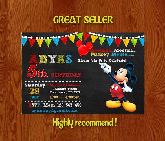 Mickey Mouse Invitations Party Invitation Etsy