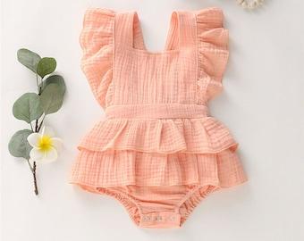 Baby Girl Spring Romper, Baby Girl Cotton Romper, Toddler Romper Spring, Summer Pink Romper Set Romper Set, Baby Frill Romper