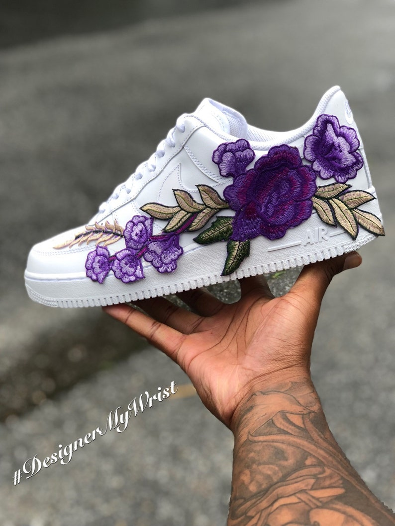 a7036b8e1c27b Custom Purple Floral Nike Air Force One