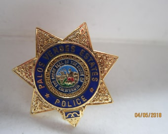 "PALOS VERDES ESTATES  1"" miniature gold Star Police Badge Hat lapel Pin Tie Tac California"