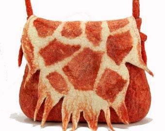 bc3aed42f2fc Coral saddle bag Felt bag Wool felt handbag Side bag for