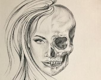 Original Drawing Beautiful Woman and Skull