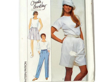 Christie Brinkley Collection, pleated pant pattern, shorts pattern, 80's fashion, 1980s pants pattern, side opening pants, Simplicity 9108