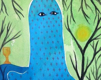 Blue Ghost Original Art Tarot Card Magical Weird Forest Watercolor Painting
