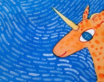 Fantasy Art Magical Orange Unicorn Colorful Textured Folk Art Original Handmade Watercolor Painting