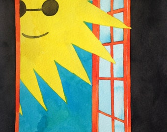 Sunshine Dandelion Window Art Original Handmade Brightly Colored Watercolor Painting
