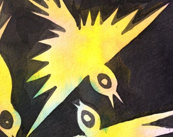 Original watercolor yellow bird painting wall art