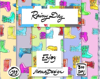 "Raining Boots Digital Paper12""x12"" (30x30 cm) Digital Paper Pack Rainy Day Party Clipart Illustration Planner Stickers Ideas Home Decoration"