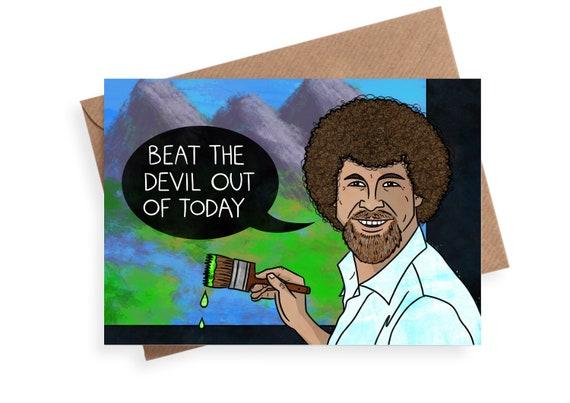 Bob Ross Birthday Card A5 Large Greeting Card Etsy