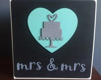 Contemporary Mrs & Mrs Wedding Civil Ceremony Card