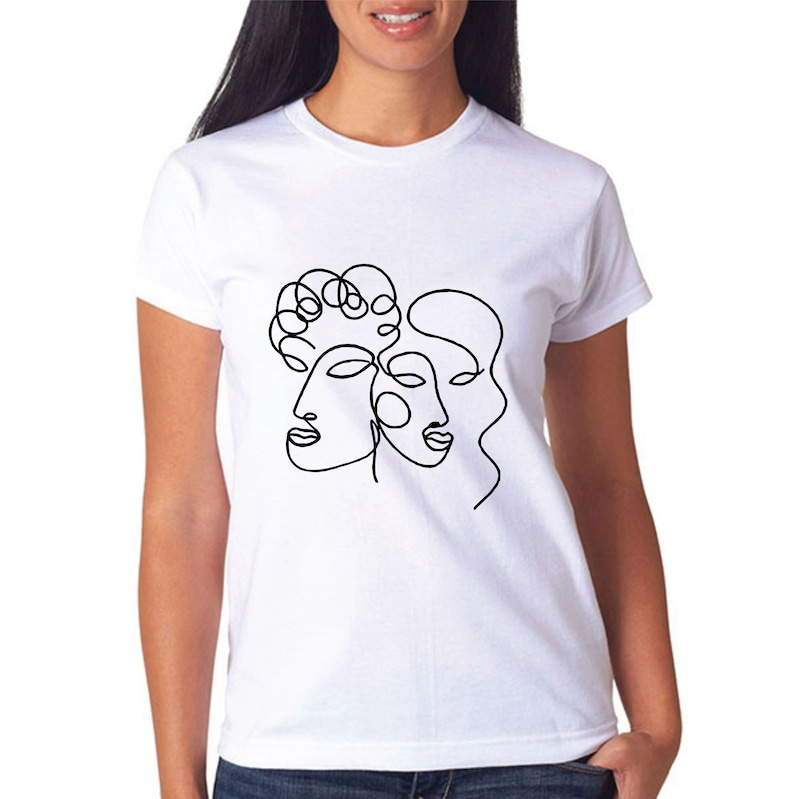 0fcdd0a8 One Line Drawing Face T-Shirt for Kids Women and Men | Etsy