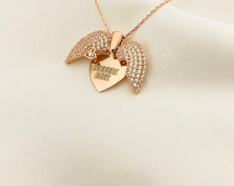 Heart And Angel Winged Necklace ...