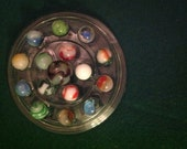 16 Retro Mid-Century Machine-made marbles Peltier Agate Banana swirl patch shooter