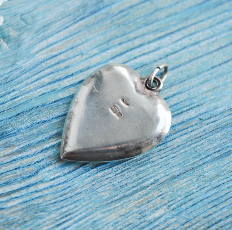 Vintage Soviet Russian 875 Silver Necklace Pendant Charm Heart with Red Gemstone.